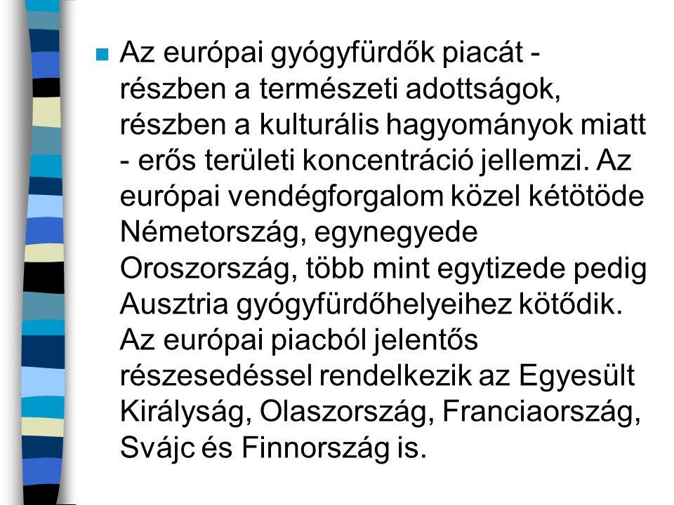 n Az európai gyógyfürdők piacát - részben a természeti adottságok, részben a kulturális hagyományok miatt - erős területi koncentráció jellemzi. Az eu