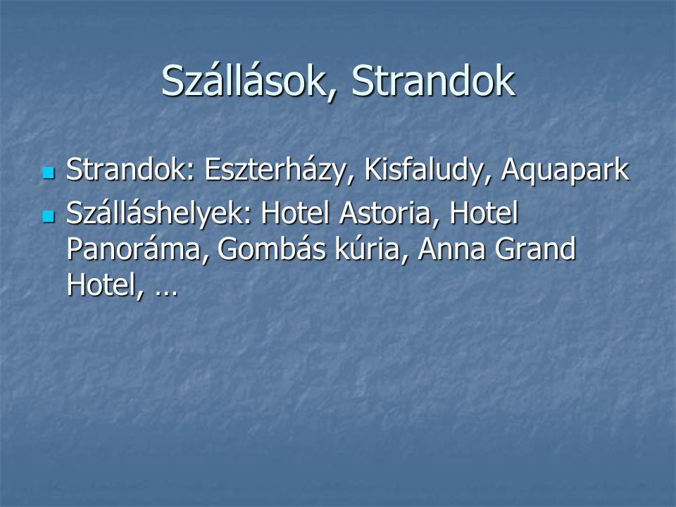 Szállások, Strandok Strandok: Eszterházy, Kisfaludy, Aquapark Strandok: Eszterházy, Kisfaludy, Aquapark Szálláshelyek: Hotel Astoria, Hotel Panoráma,