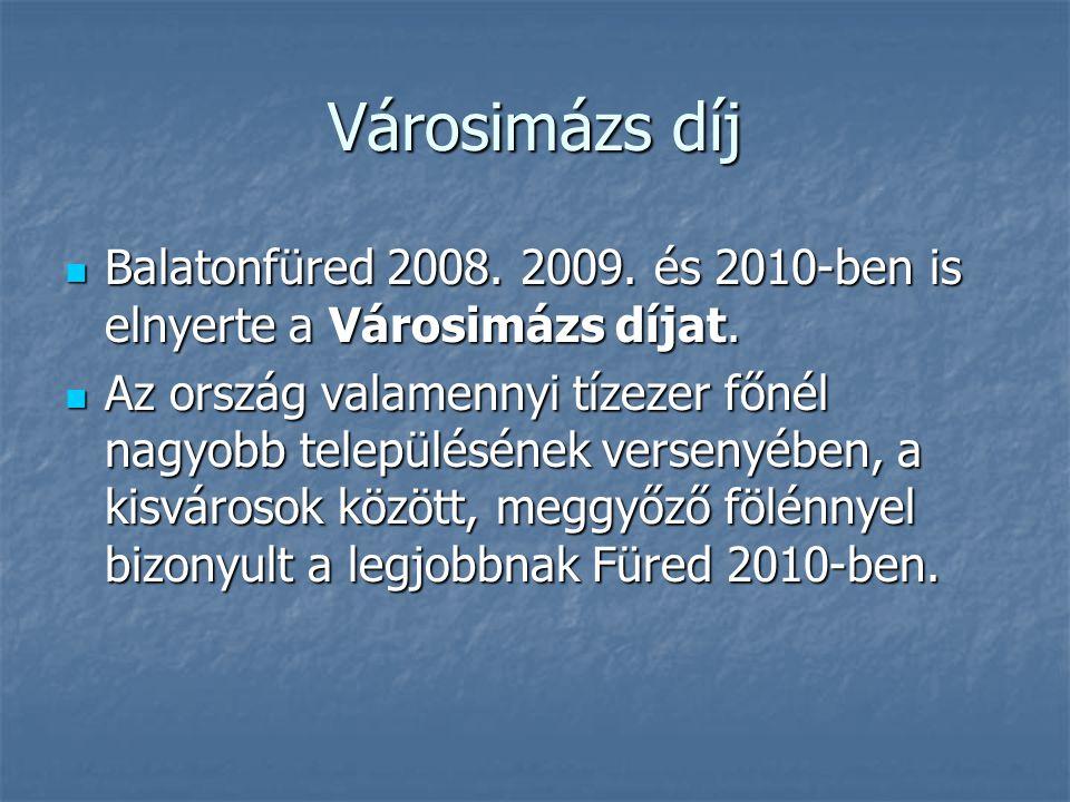 Városimázs díj Balatonfüred 2008. 2009. és 2010-ben is elnyerte a Városimázs díjat. Balatonfüred 2008. 2009. és 2010-ben is elnyerte a Városimázs díja