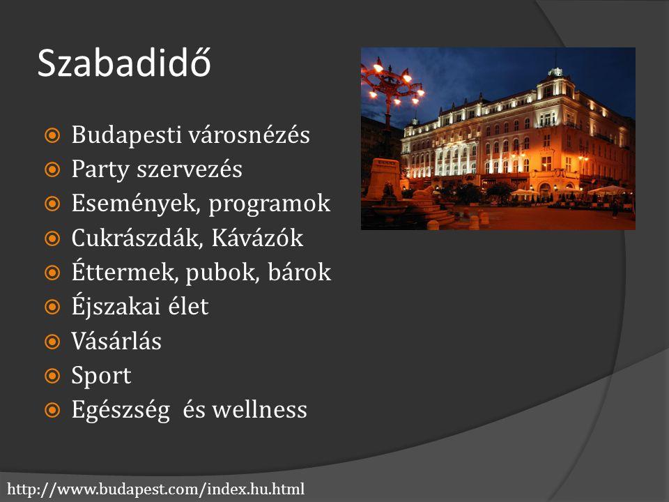 http://www.budapest.com/index.hu.html Szabadidő  Budapesti városnézés  Party szervezés  Események, programok  Cukrászdák, Kávázók  Éttermek, pubo