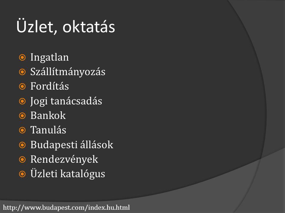http://www.budapest.com/index.hu.html Üzlet, oktatás  Ingatlan  Szállítmányozás  Fordítás  Jogi tanácsadás  Bankok  Tanulás  Budapesti állások