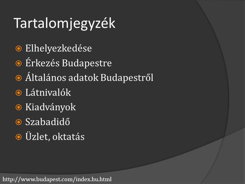 http://www.budapest.com/index.hu.html Tartalomjegyzék  Elhelyezkedése  Érkezés Budapestre  Általános adatok Budapestről  Látnivalók  Kiadványok 