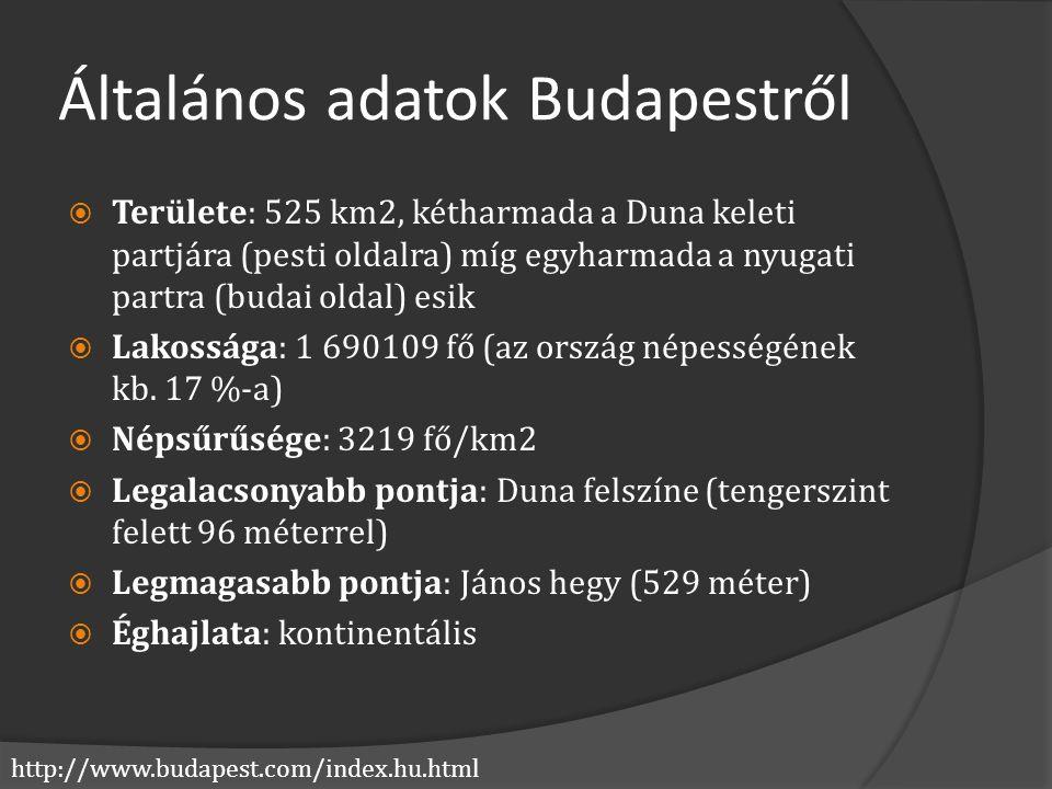 http://www.budapest.com/index.hu.html Általános adatok Budapestről  Területe: 525 km2, kétharmada a Duna keleti partjára (pesti oldalra) míg egyharma