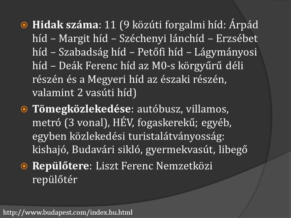 http://www.budapest.com/index.hu.html  Hidak száma: 11 (9 közúti forgalmi híd: Árpád híd – Margit híd – Széchenyi lánchíd – Erzsébet híd – Szabadság