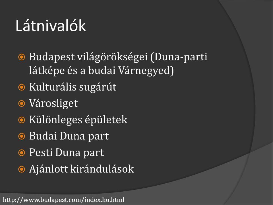 http://www.budapest.com/index.hu.html Látnivalók  Budapest világörökségei (Duna-parti látképe és a budai Várnegyed)  Kulturális sugárút  Városliget