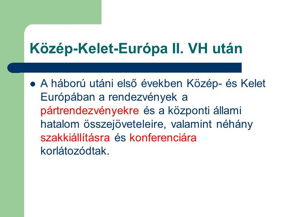 Közép-Kelet-Európa II. VH után A háború utáni első években Közép- és Kelet Európában a rendezvények a pártrendezvényekre és a központi állami hatalom