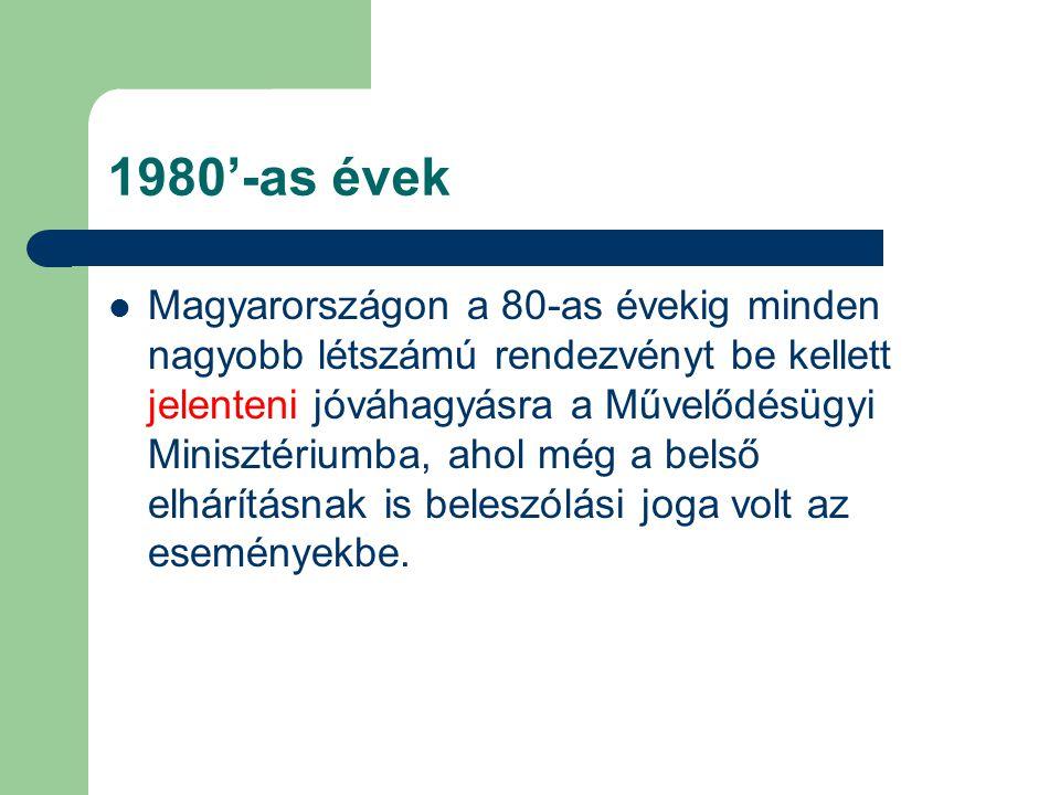 1980'-as évek Magyarországon a 80-as évekig minden nagyobb létszámú rendezvényt be kellett jelenteni jóváhagyásra a Művelődésügyi Minisztériumba, ahol még a belső elhárításnak is beleszólási joga volt az eseményekbe.