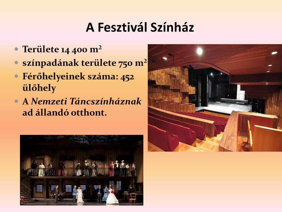 A Fesztivál Színház Területe 14 400 m² színpadának területe 750 m² Férőhelyeinek száma: 452 ülőhely A Nemzeti Táncszínháznak ad állandó otthont.