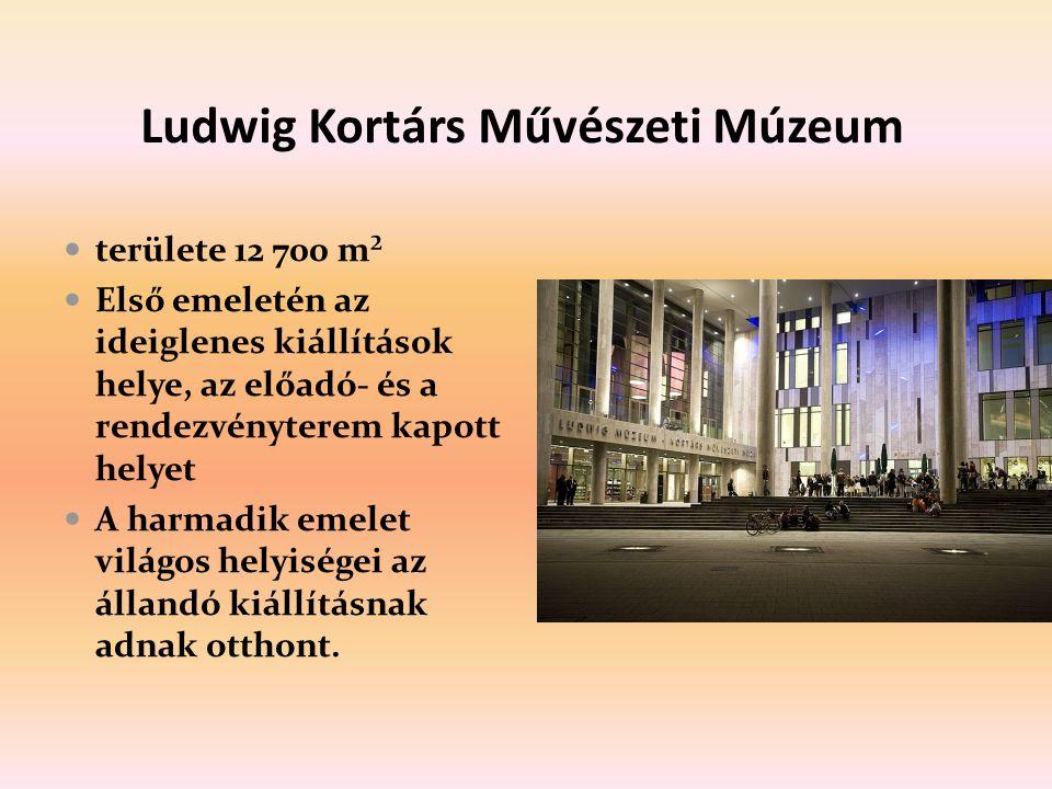 Ludwig Kortárs Művészeti Múzeum területe 12 700 m² Első emeletén az ideiglenes kiállítások helye, az előadó- és a rendezvényterem kapott helyet A harmadik emelet világos helyiségei az állandó kiállításnak adnak otthont.