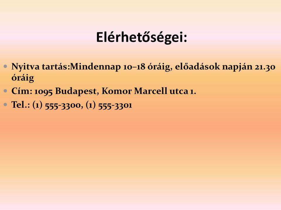Elérhetőségei: Nyitva tartás:Mindennap 10–18 óráig, előadások napján 21.30 óráig Cím: 1095 Budapest, Komor Marcell utca 1. Tel.: (1) 555-3300, (1) 555