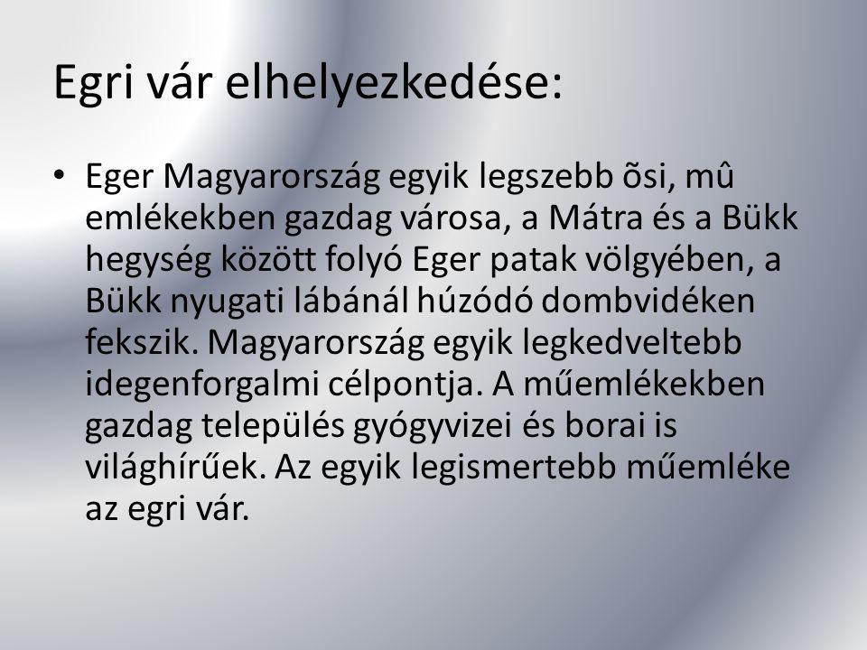 Egri vár elhelyezkedése: Eger Magyarország egyik legszebb õsi, mû emlékekben gazdag városa, a Mátra és a Bükk hegység között folyó Eger patak völgyébe