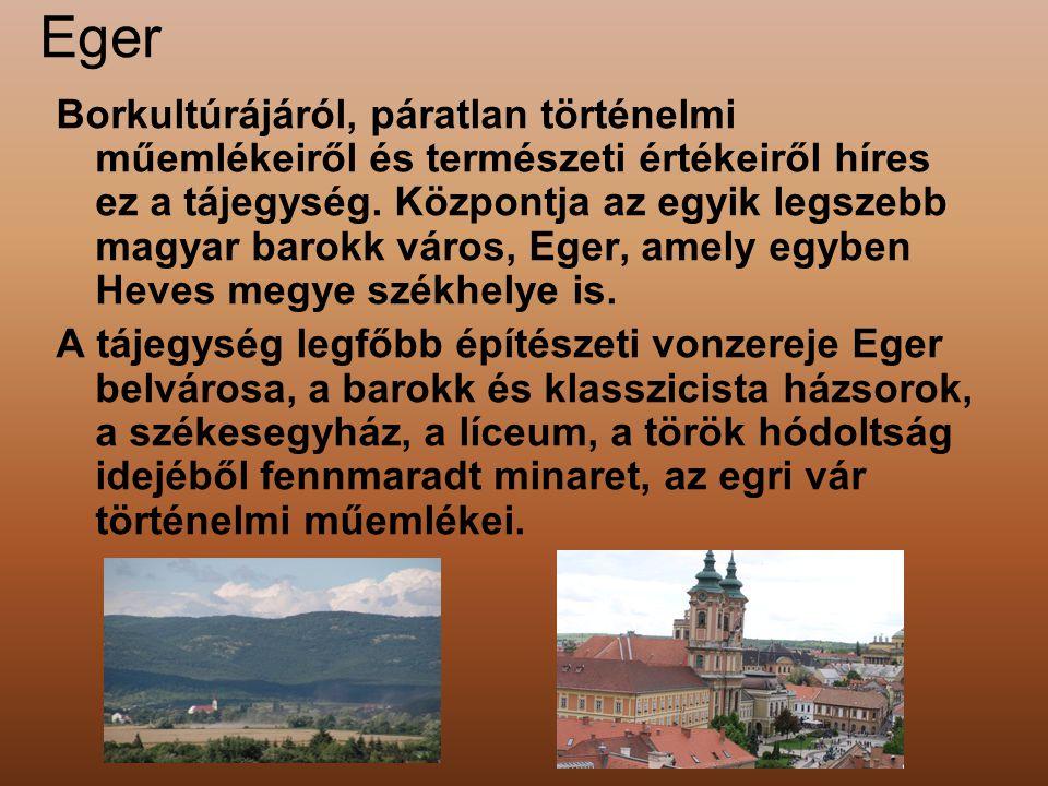 Eger Borkultúrájáról, páratlan történelmi műemlékeiről és természeti értékeiről híres ez a tájegység. Központja az egyik legszebb magyar barokk város,
