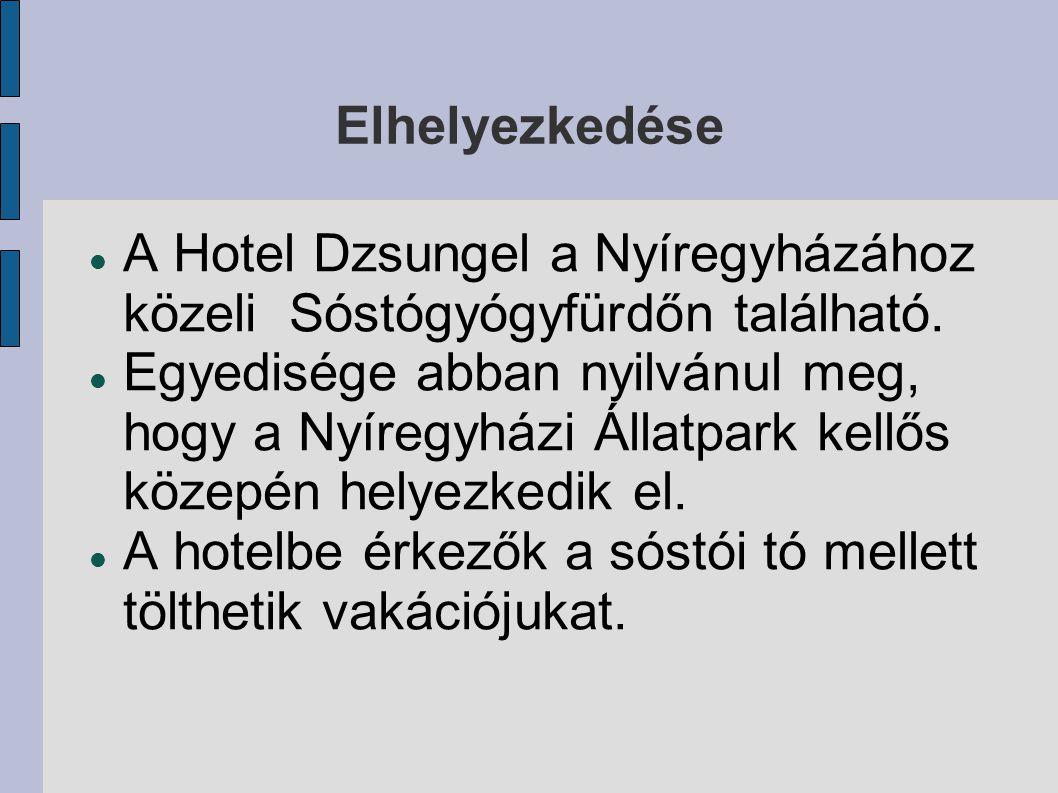 Elhelyezkedése A Hotel Dzsungel a Nyíregyházához közeli Sóstógyógyfürdőn található. Egyedisége abban nyilvánul meg, hogy a Nyíregyházi Állatpark kellő