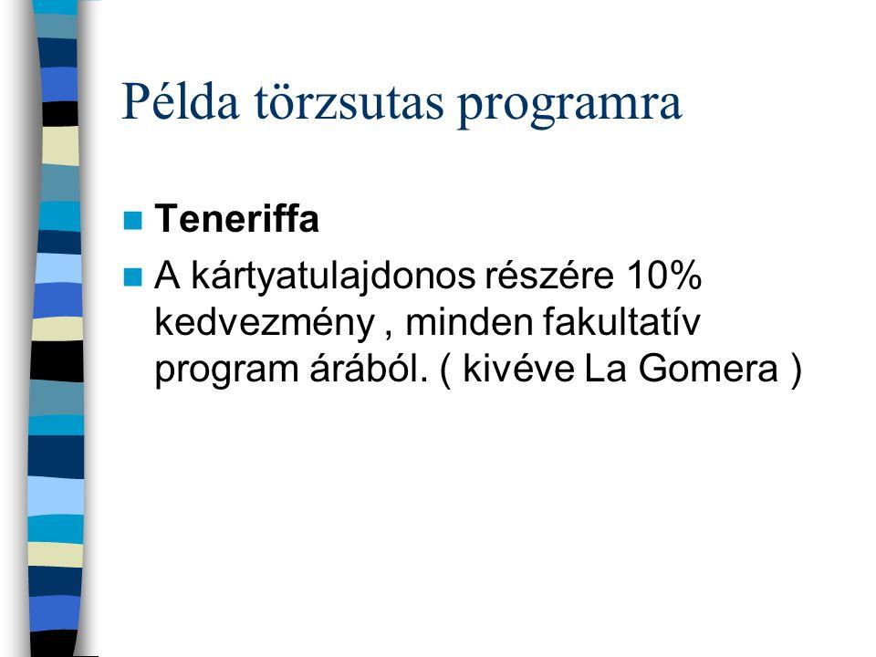 Példa törzsutas programra Teneriffa A kártyatulajdonos részére 10% kedvezmény, minden fakultatív program árából. ( kivéve La Gomera )