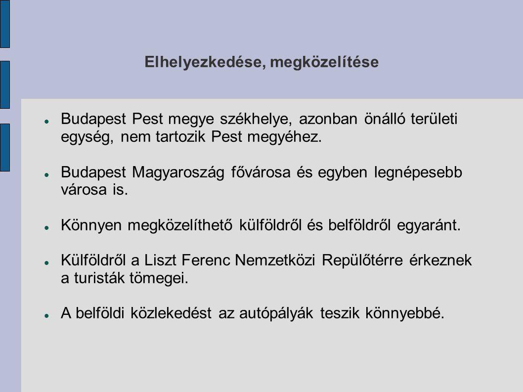 Elhelyezkedése, megközelítése Budapest Pest megye székhelye, azonban önálló területi egység, nem tartozik Pest megyéhez. Budapest Magyaroszág fővárosa