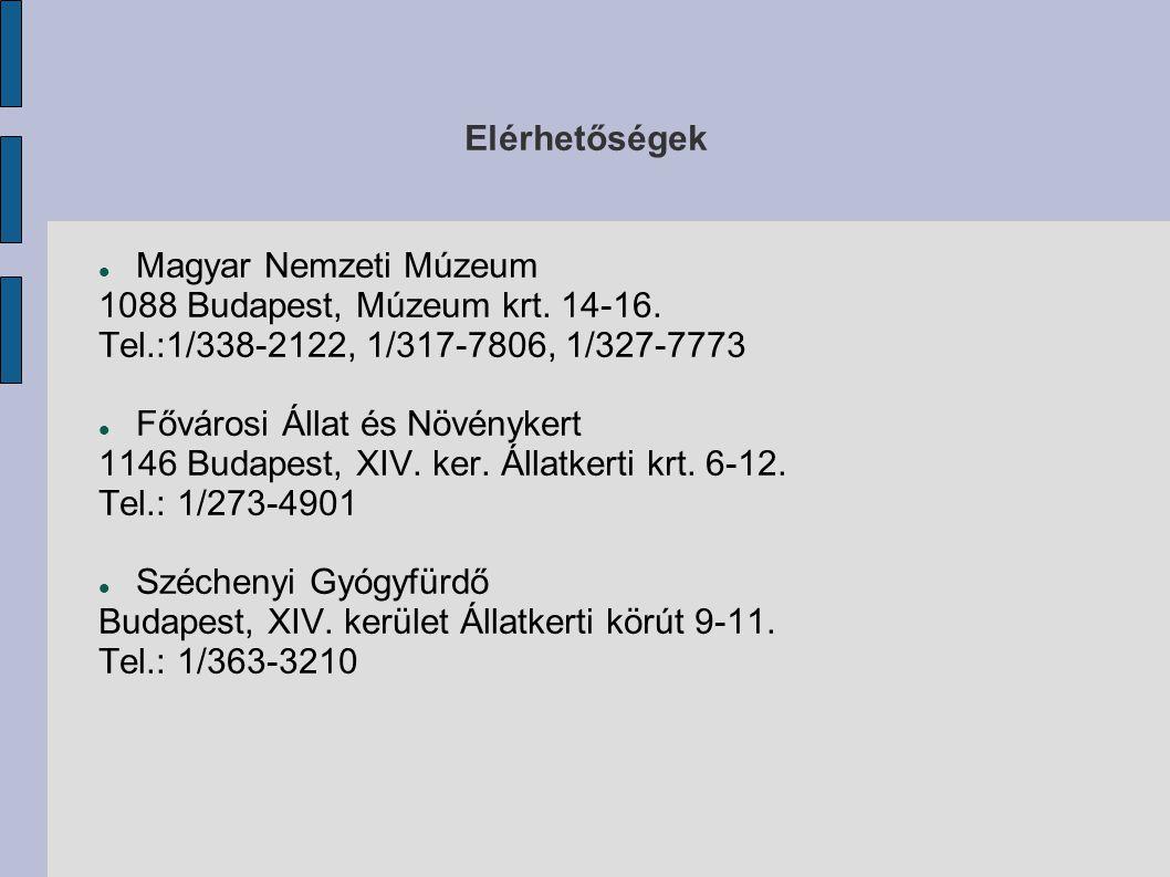Elérhetőségek Magyar Nemzeti Múzeum 1088 Budapest, Múzeum krt. 14-16. Tel.:1/338-2122, 1/317-7806, 1/327-7773 Fővárosi Állat és Növénykert 1146 Budape