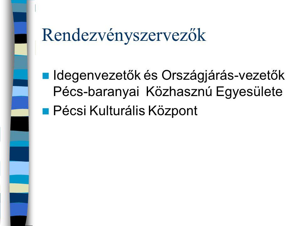 Rendezvényszervezők Idegenvezetők és Országjárás-vezetők Pécs-baranyai Közhasznú Egyesülete Pécsi Kulturális Központ