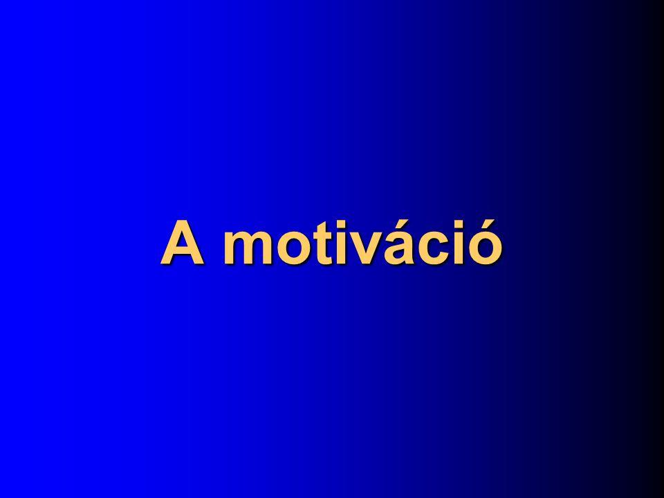 Fogalma: belső indíték, cselekvésre késztető erő, mely a viselkedésnek intenzitást, meghatározott irányt és megvalósítási formát ad.