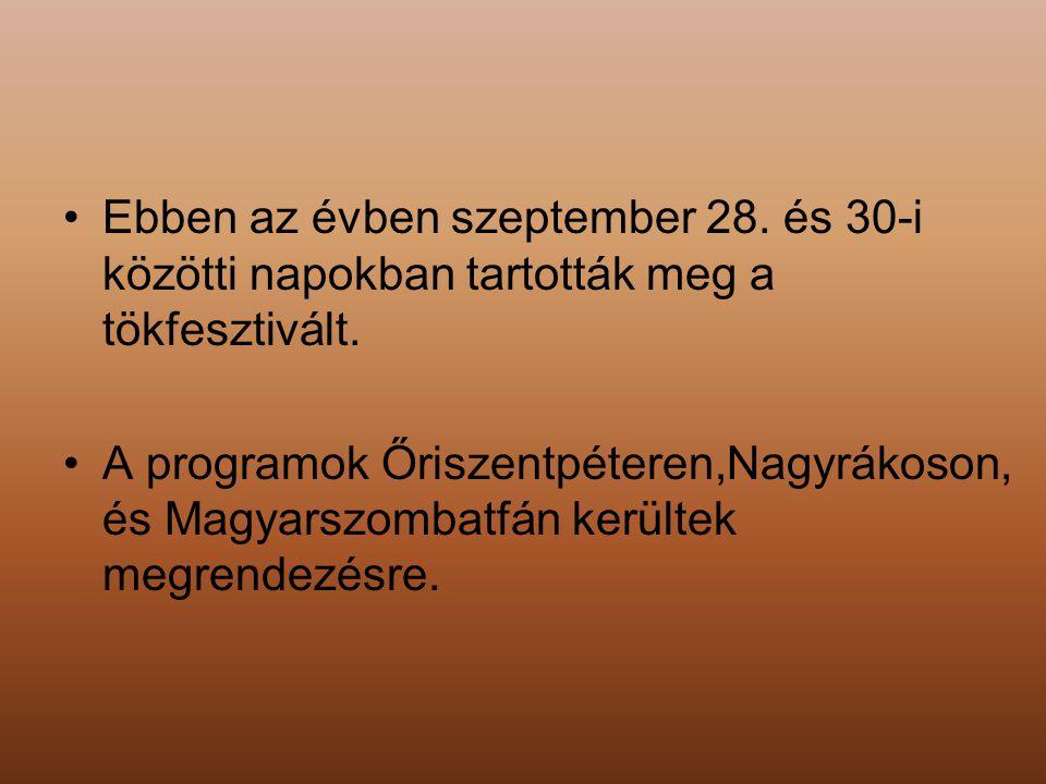 Ebben az évben szeptember 28. és 30-i közötti napokban tartották meg a tökfesztivált.