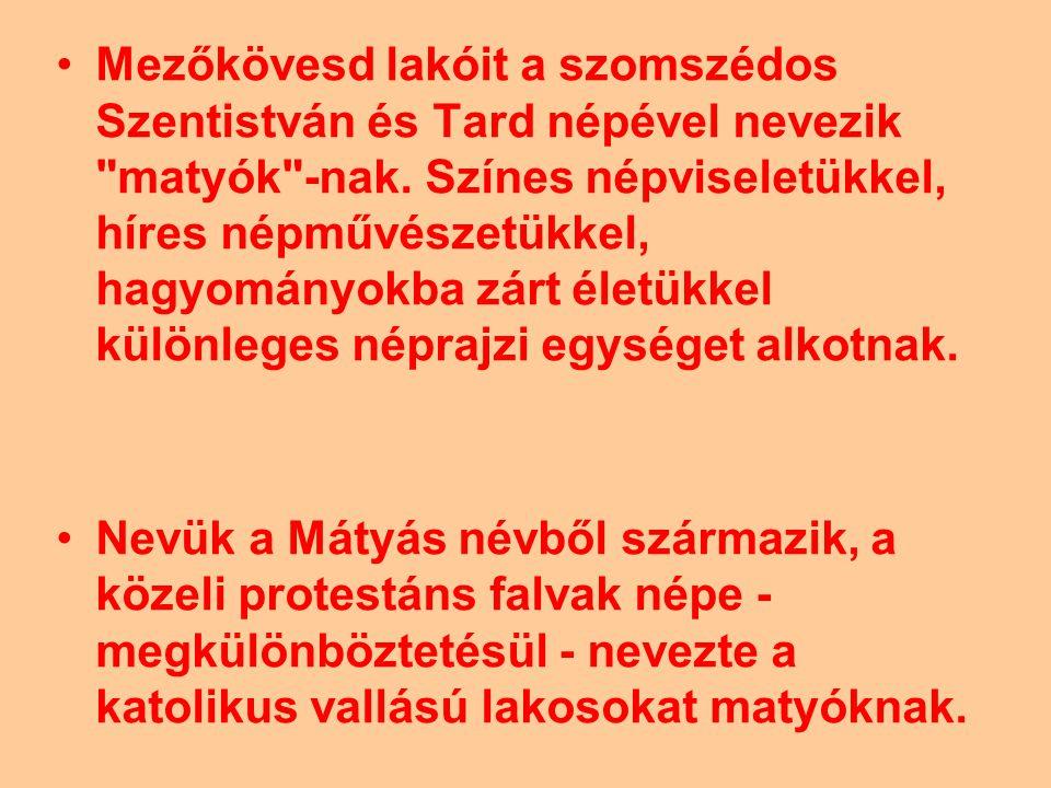 Mezőkövesd lakóit a szomszédos Szentistván és Tard népével nevezik