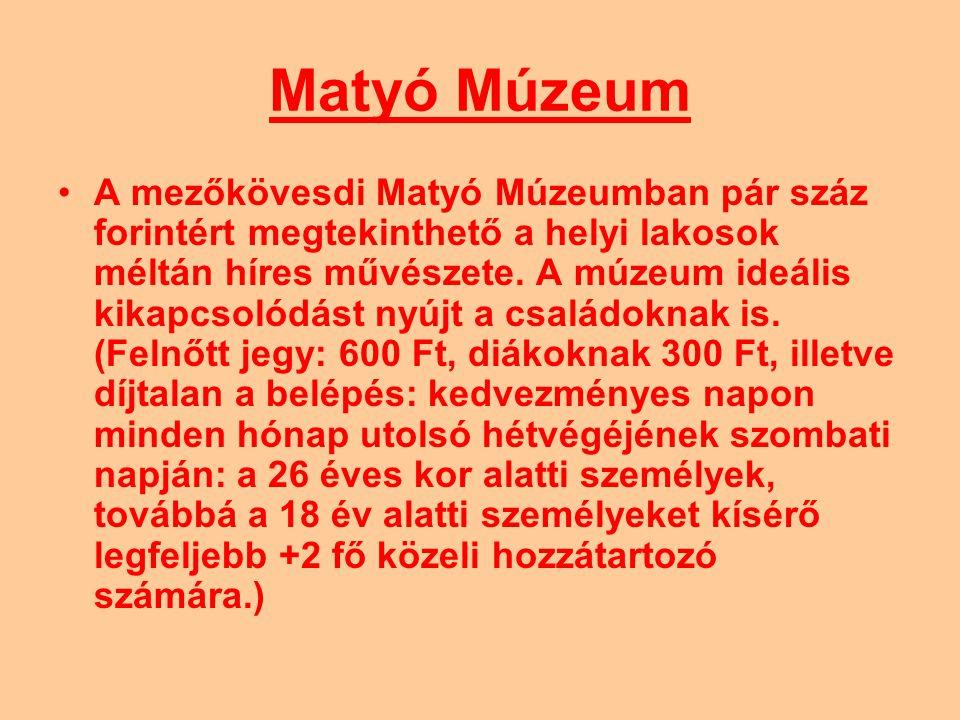 Matyó Múzeum A mezőkövesdi Matyó Múzeumban pár száz forintért megtekinthető a helyi lakosok méltán híres művészete. A múzeum ideális kikapcsolódást ny