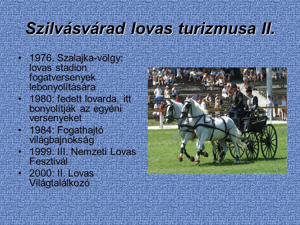 Szilvásvárad lovas turizmusa II. 1976. Szalajka-völgy: lovas stadion fogatversenyek lebonyolítására 1980: fedett lovarda, itt bonyolítják az egyéni ve