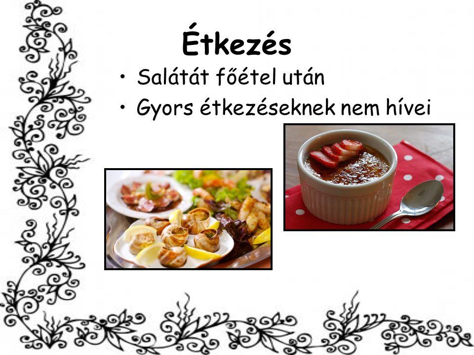 Étkezés Salátát főétel után Gyors étkezéseknek nem hívei
