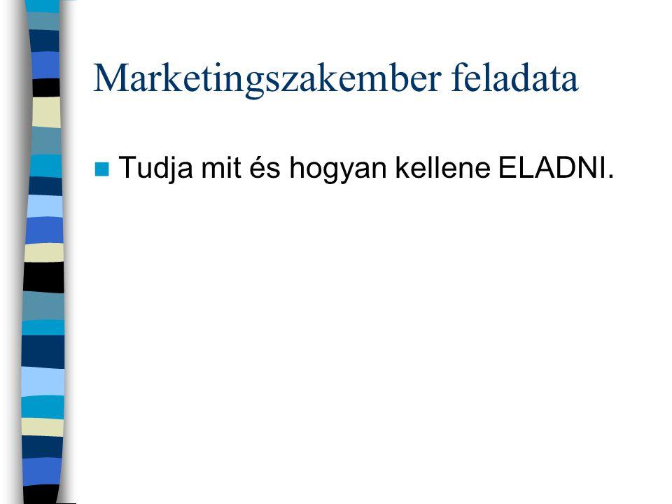 Marketingszakember feladata Tudja mit és hogyan kellene ELADNI.