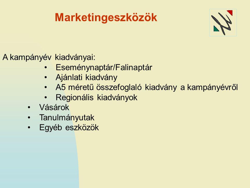 Marketingeszközök A kampányév kiadványai: Eseménynaptár/Falinaptár Ajánlati kiadvány A5 méretű összefoglaló kiadvány a kampányévről Regionális kiadványok Vásárok Tanulmányutak Egyéb eszközök