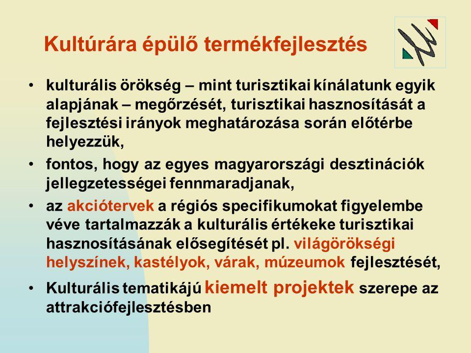 Kultúrára épülő termékfejlesztés kulturális örökség – mint turisztikai kínálatunk egyik alapjának – megőrzését, turisztikai hasznosítását a fejlesztési irányok meghatározása során előtérbe helyezzük, fontos, hogy az egyes magyarországi desztinációk jellegzetességei fennmaradjanak, az akciótervek a régiós specifikumokat figyelembe véve tartalmazzák a kulturális értékeke turisztikai hasznosításának elősegítését pl.