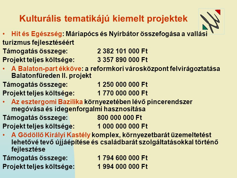Kulturális tematikájú kiemelt projektek II.