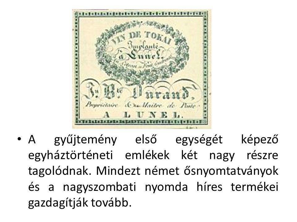 A gyűjtemény első egységét képező egyháztörténeti emlékek két nagy részre tagolódnak. Mindezt német ősnyomtatványok és a nagyszombati nyomda híres ter