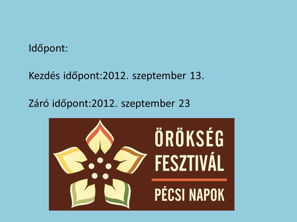 Időpont: Kezdés időpont:2012. szeptember 13. Záró időpont:2012. szeptember 23