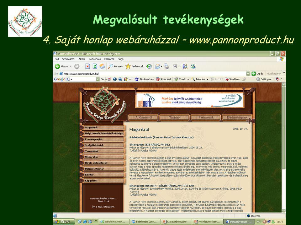 Megvalósult tevékenységek 4. Saját honlap webáruházzal – www.pannonproduct.hu