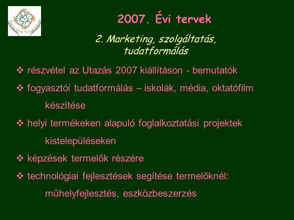  részvétel az Utazás 2007 kiállításon - bemutatók  fogyasztói tudatformálás – iskolák, média, oktatófilm készítése  helyi termékeken alapuló foglalkoztatási projektek kistelepüléseken  képzések termelők részére  technológiai fejlesztések segítése termelőknél: műhelyfejlesztés, eszközbeszerzés 2007.