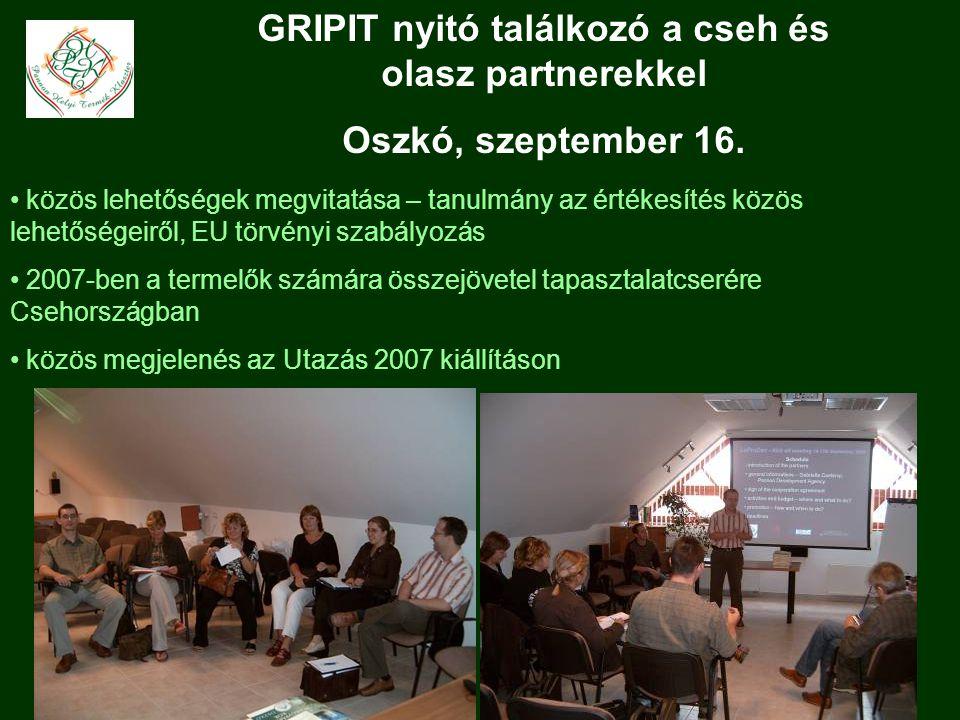 GRIPIT nyitó találkozó a cseh és olasz partnerekkel Oszkó, szeptember 16.
