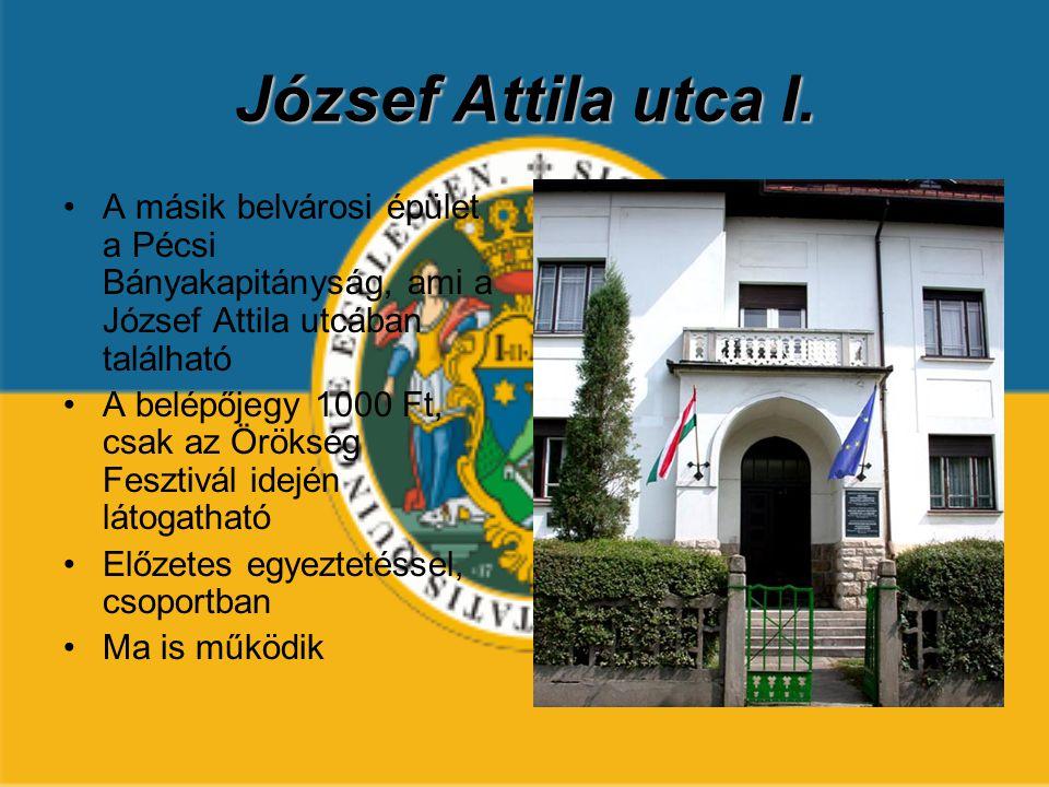 József Attila utca I. A másik belvárosi épület a Pécsi Bányakapitányság, ami a József Attila utcában található A belépőjegy 1000 Ft, csak az Örökség F