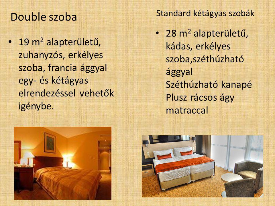 19 m 2 alapterületű, zuhanyzós, erkélyes szoba, francia ággyal egy- és kétágyas elrendezéssel vehetők igénybe.