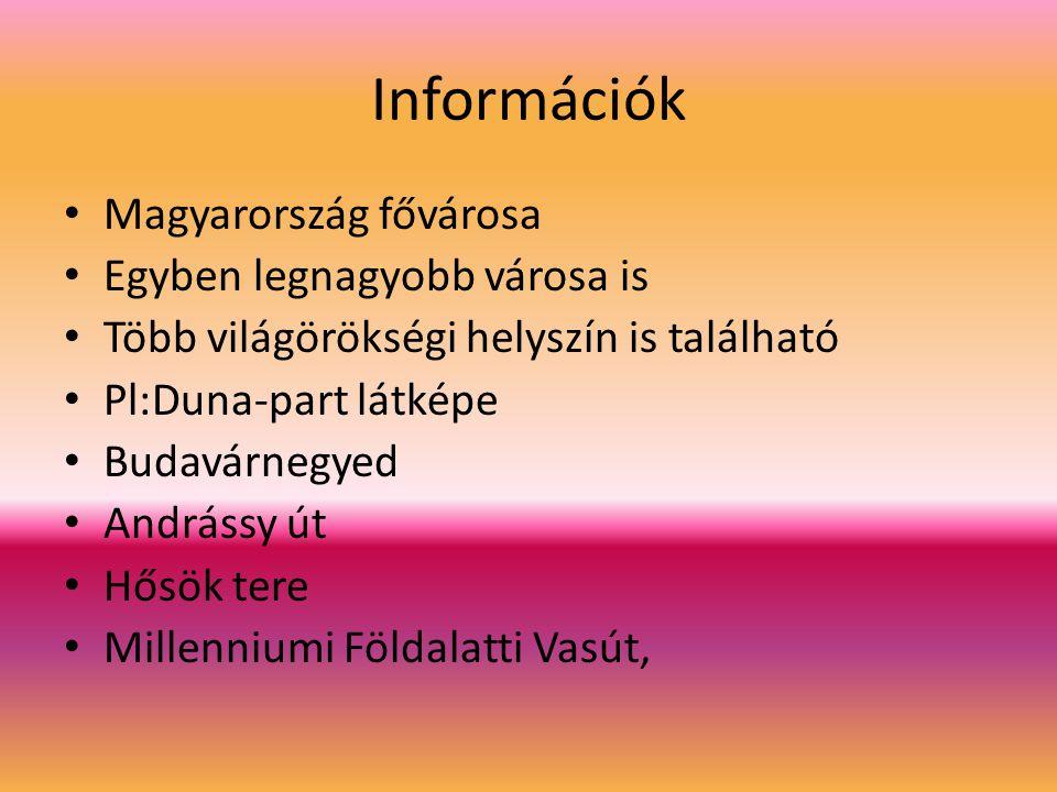 Információk Magyarország fővárosa Egyben legnagyobb városa is Több világörökségi helyszín is található Pl:Duna-part látképe Budavárnegyed Andrássy út Hősök tere Millenniumi Földalatti Vasút,