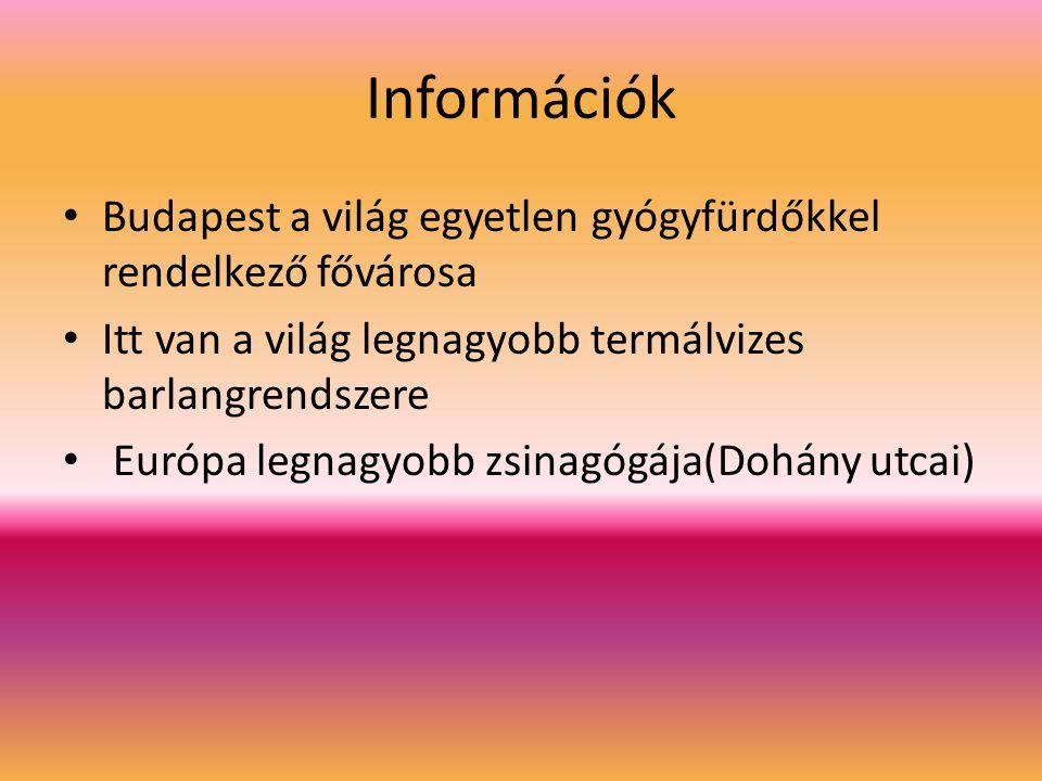 Információk Budapest a világ egyetlen gyógyfürdőkkel rendelkező fővárosa Itt van a világ legnagyobb termálvizes barlangrendszere Európa legnagyobb zsinagógája(Dohány utcai)