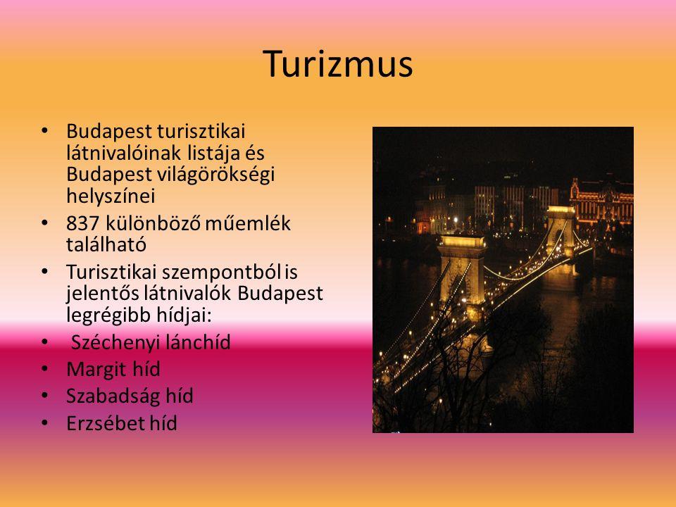 Turizmus Budapest turisztikai látnivalóinak listája és Budapest világörökségi helyszínei 837 különböző műemlék található Turisztikai szempontból is jelentős látnivalók Budapest legrégibb hídjai: Széchenyi lánchíd Margit híd Szabadság híd Erzsébet híd