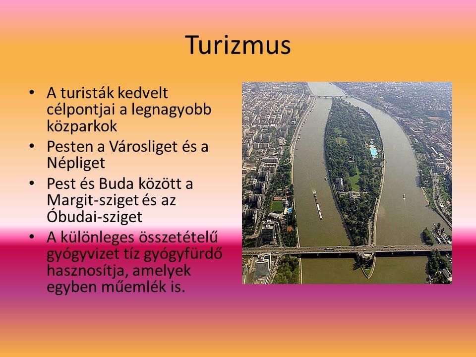 Turizmus A turisták kedvelt célpontjai a legnagyobb közparkok Pesten a Városliget és a Népliget Pest és Buda között a Margit-sziget és az Óbudai-szige