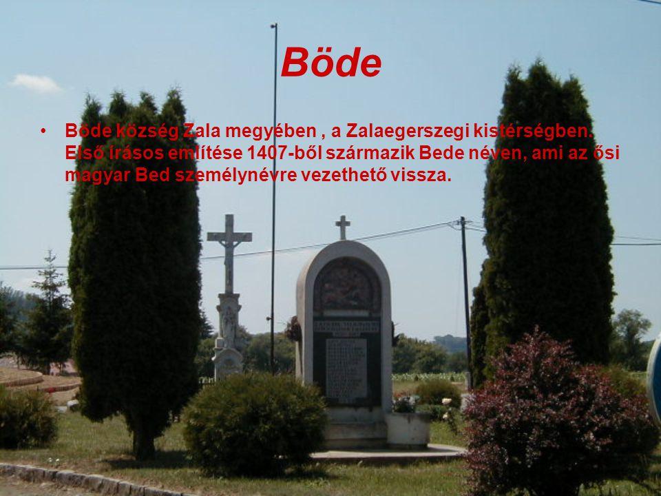 Böde Böde község Zala megyében, a Zalaegerszegi kistérségben.