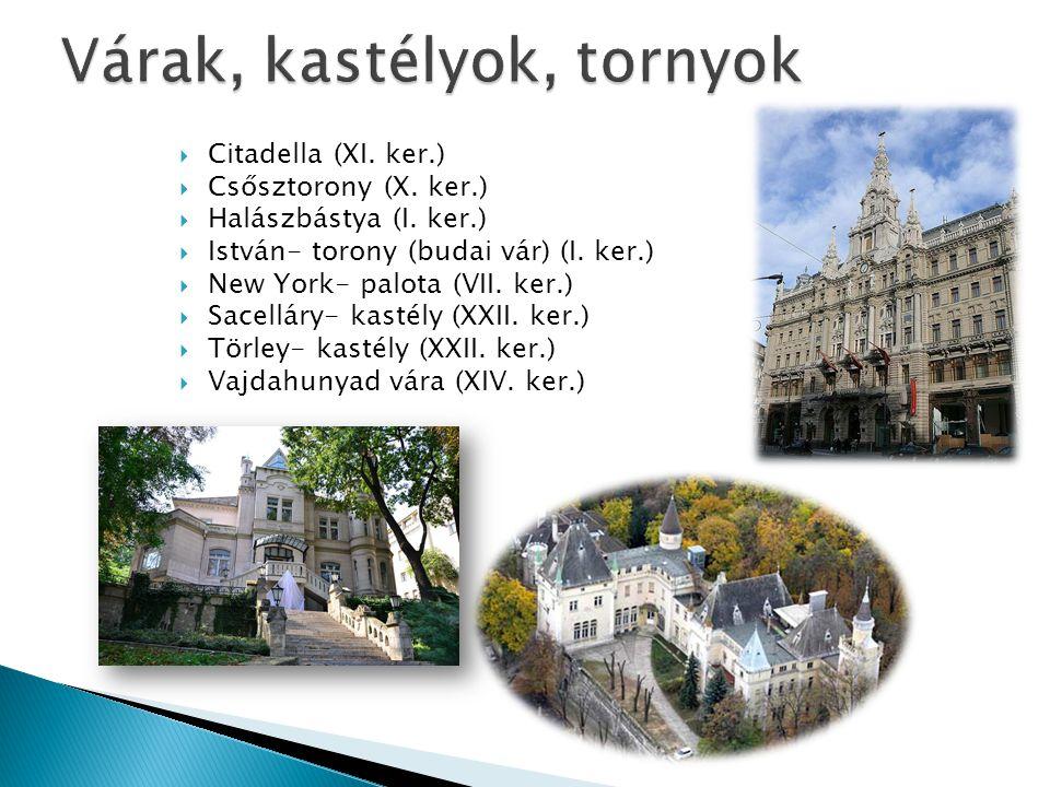  Citadella (XI. ker.)  Csősztorony (X. ker.)  Halászbástya (I. ker.)  István- torony (budai vár) (I. ker.)  New York- palota (VII. ker.)  Sacell