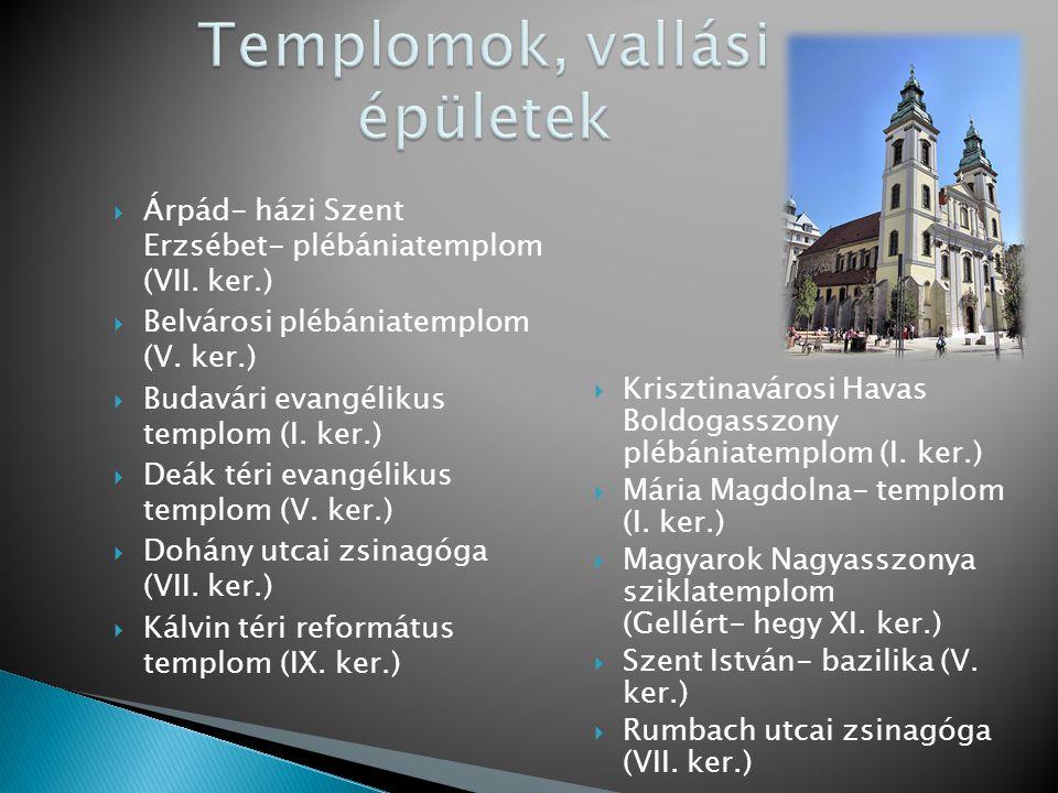  Árpád- házi Szent Erzsébet- plébániatemplom (VII. ker.)  Belvárosi plébániatemplom (V. ker.)  Budavári evangélikus templom (I. ker.)  Deák téri e