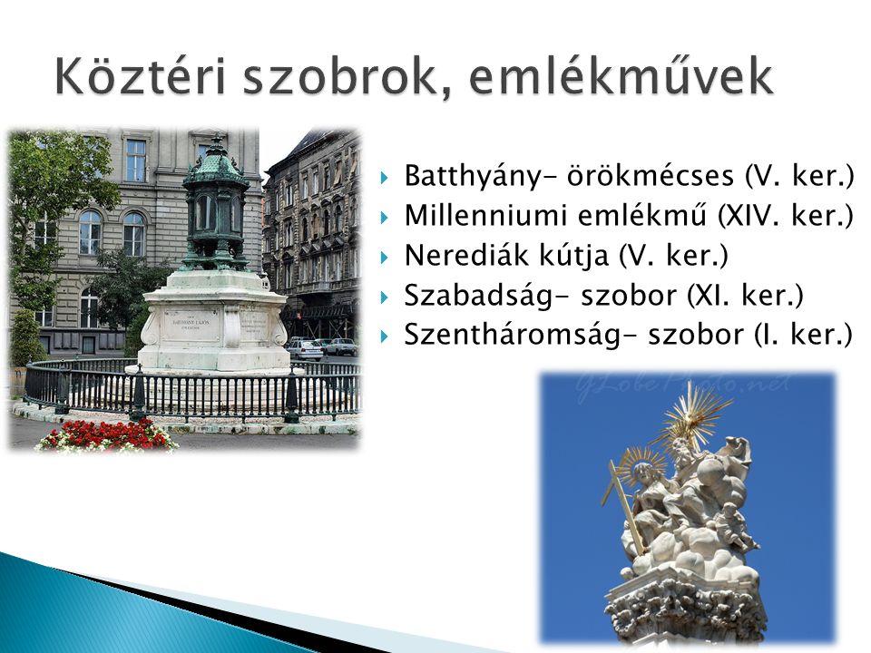 Batthyány- örökmécses (V. ker.)  Millenniumi emlékmű (XIV. ker.)  Nerediák kútja (V. ker.)  Szabadság- szobor (XI. ker.)  Szentháromság- szobor
