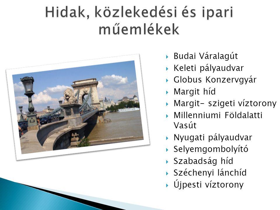  Budai Váralagút  Keleti pályaudvar  Globus Konzervgyár  Margit híd  Margit- szigeti víztorony  Millenniumi Földalatti Vasút  Nyugati pályaudva
