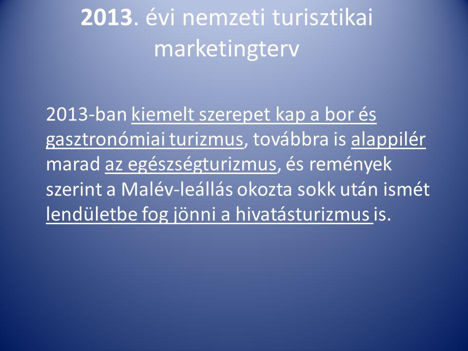 2013. évi nemzeti turisztikai marketingterv 2013-ban kiemelt szerepet kap a bor és gasztronómiai turizmus, továbbra is alappilér marad az egészségturi