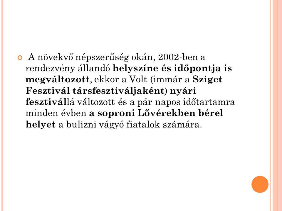A növekvő népszerűség okán, 2002-ben a rendezvény állandó helyszíne és időpontja is megváltozott, ekkor a Volt (immár a Sziget Fesztivál társfesztivál
