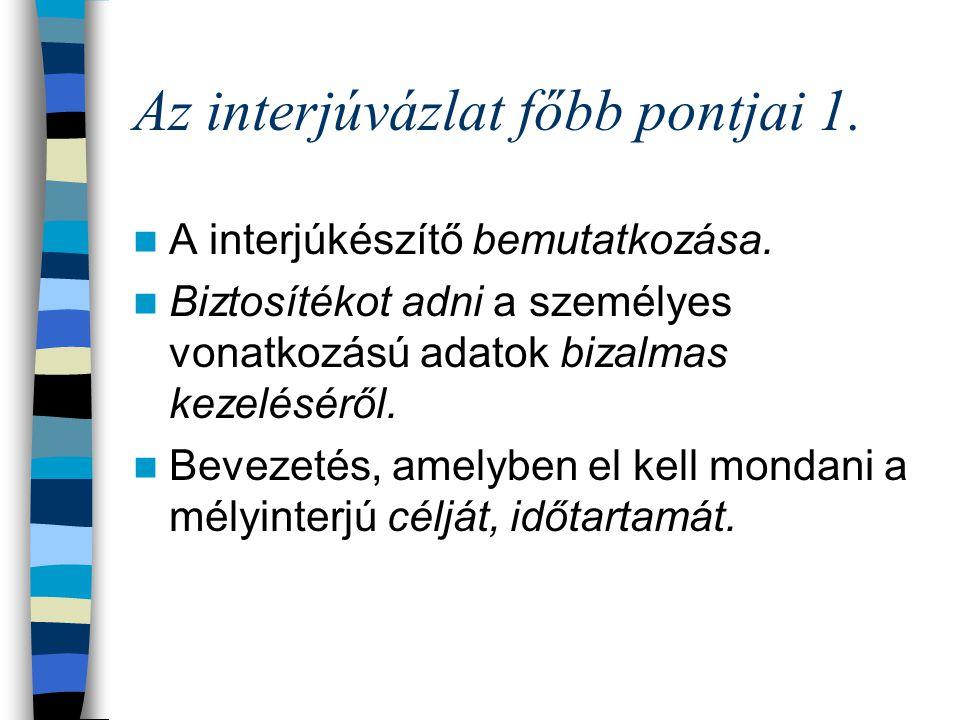 Az interjúvázlat főbb pontjai 1.A interjúkészítő bemutatkozása.